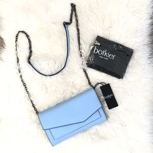 Botkier Cobble Hill Chain Wallet Blue Crossbody